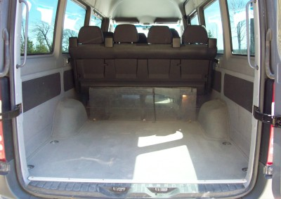 Luggage space in van